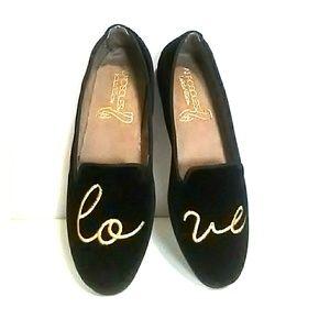 Aerosoles Black loafers velvet Embroidered Love